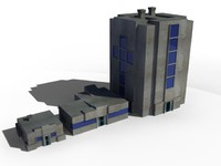 3d model low-poly buildings