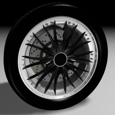 3d model car wheel tire