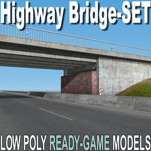 3d model highway bridge set