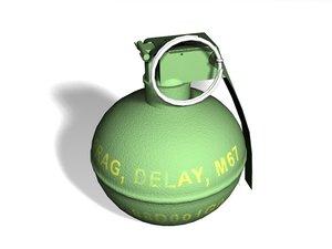 3d model of m67 grenade