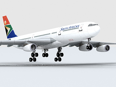 3d model airbus a340-300 south african