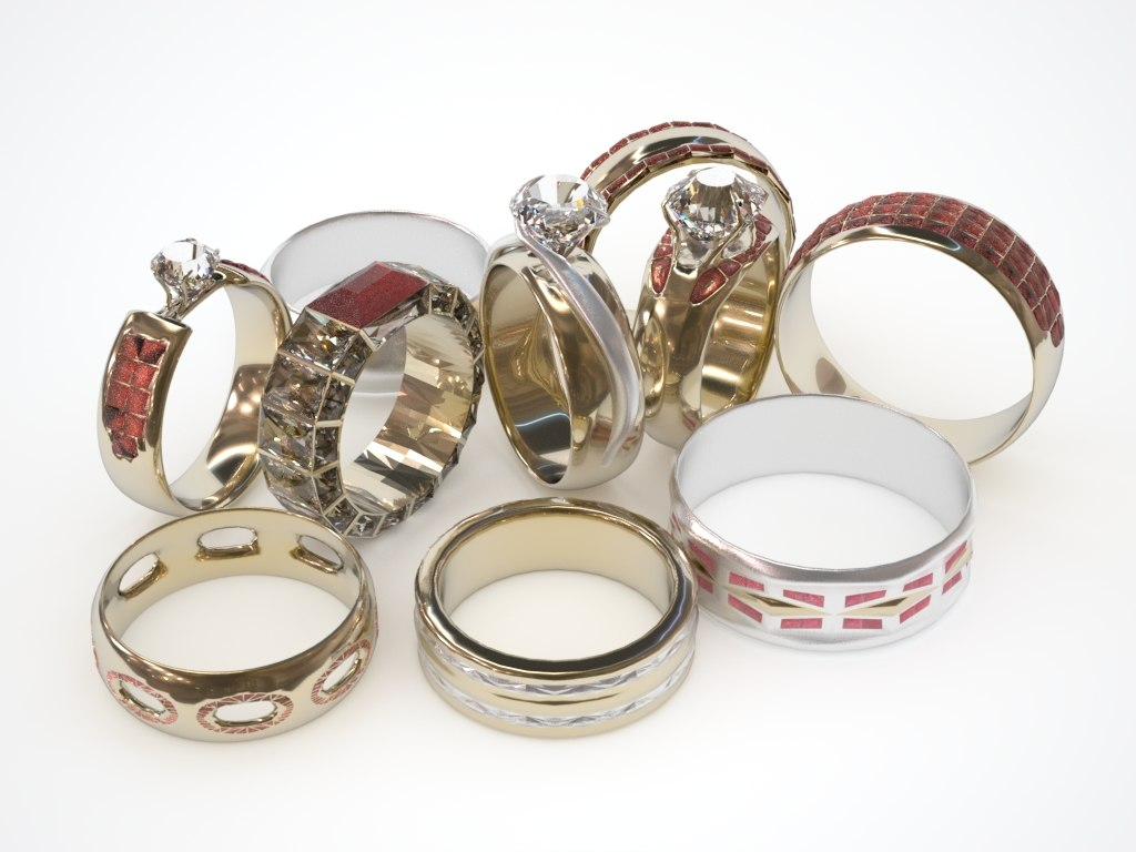 weddings rings 3d model