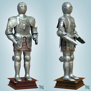 3d bass relief armor medieval model