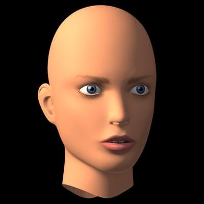 female head v1 3d model