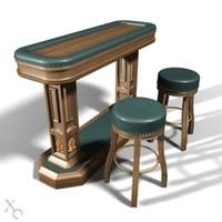 bar desk stools 3d model