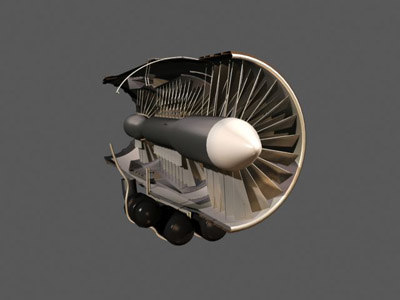 nasa jet turbine engine 3d max