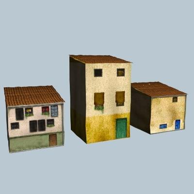 3d model 3 houses