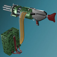 3d chaingun chain gun model