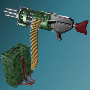 3d chaingun chain gun model