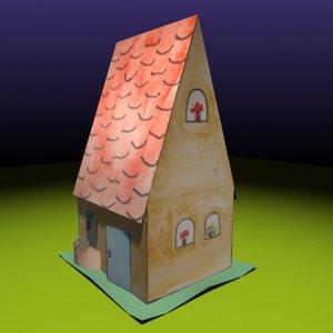 3d model of cardboard house