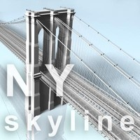 NY skyline - brooklyn bridge