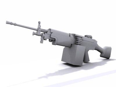 m249 squad automatic 3d 3ds