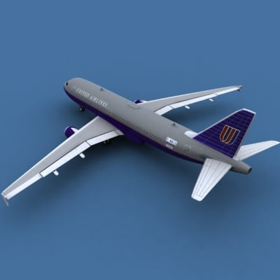 3ds max airbus a320 united airlines