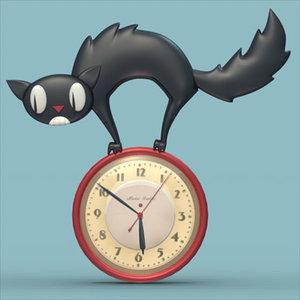 3d cat clock