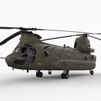 ch-47 chinook transport helicopter 3d model