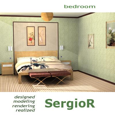 3d interior bedroom bed model