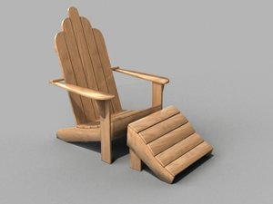 3d 3ds adirondack deck chair