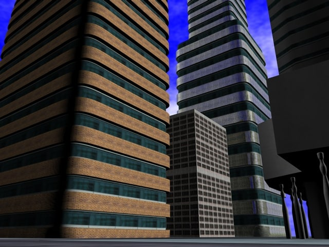 3d buildings block office model