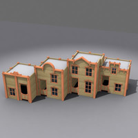 western cartoon buildings 3d model