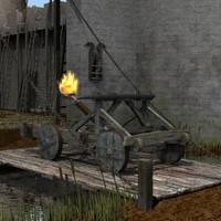 midevil catapult 3d model