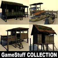 tropical huts 3d model