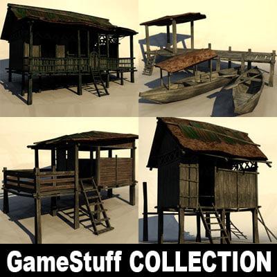 tropical huts 3d model