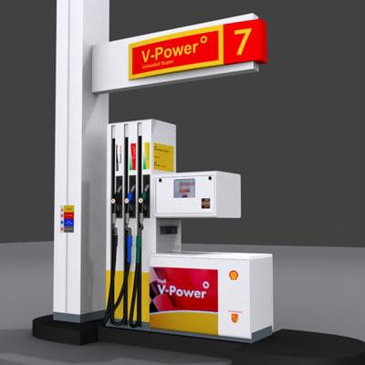 shell pump gas station 3d model