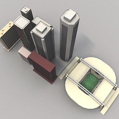 3dsmax city set skyscrapers