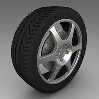mitshubishi evolution rim tyre 3d model