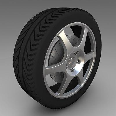 mitshubishi evolution rim tyre 3d model