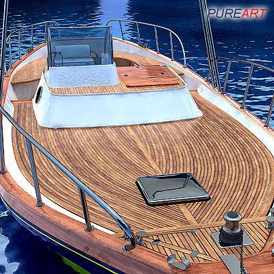 3d boat skydome teak model