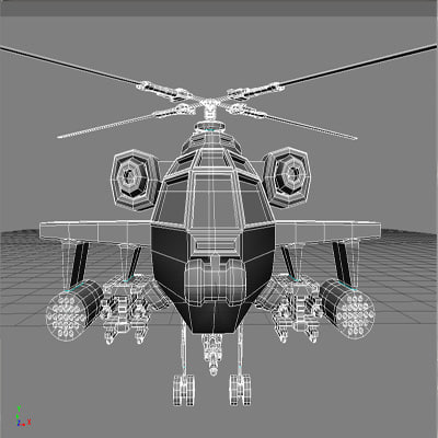 accurate apache helicopter copter 3d model