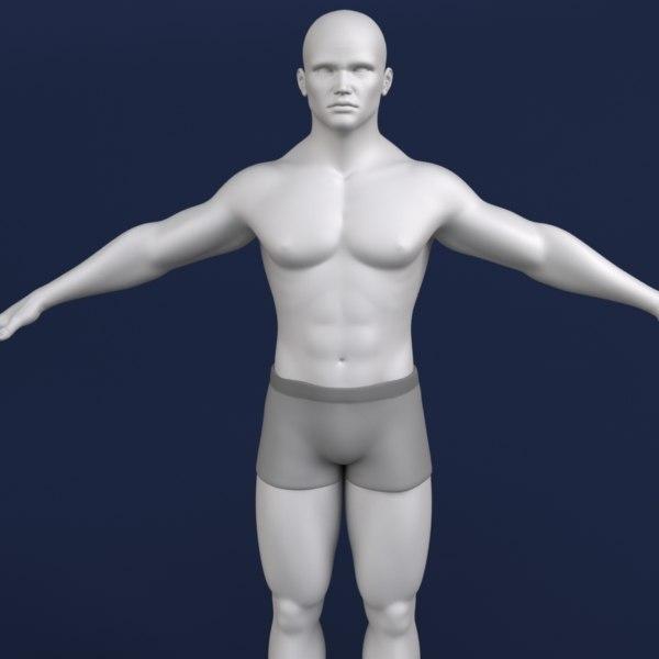 polygonal male character human 3d model