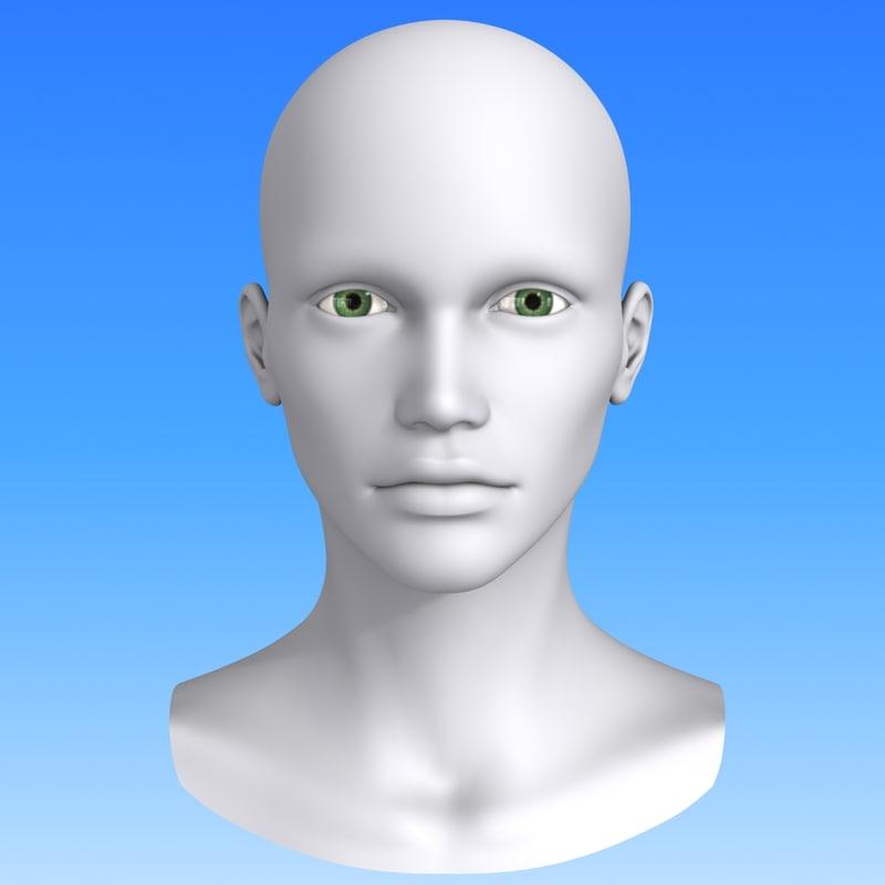 3d polygonal female head model