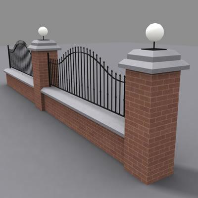 fence wall fe 3d model