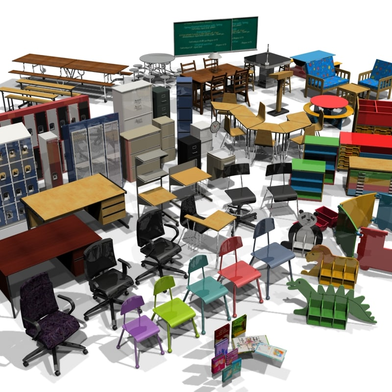classroom elements 3d model