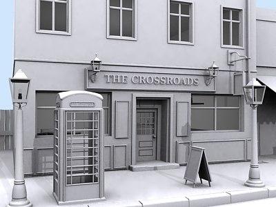 3d model of pub street