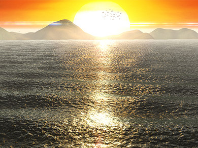 sunset scene ocean water ma