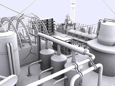 sci-fi architectural platform buildings 3d model