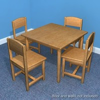 3d model child table chair