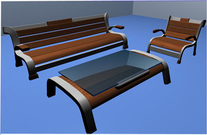 3d model of wooden chairs