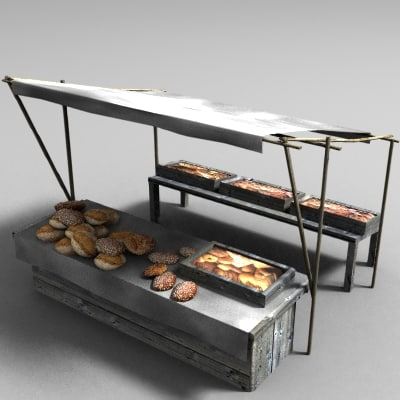 3d marketplace stall model