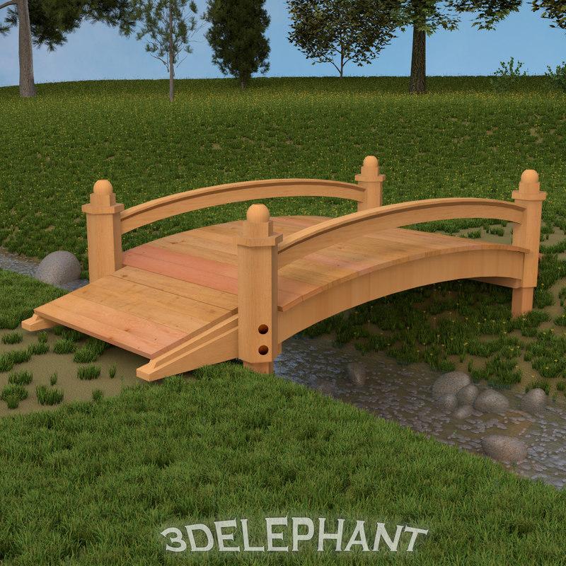 garden bridge 3d obj