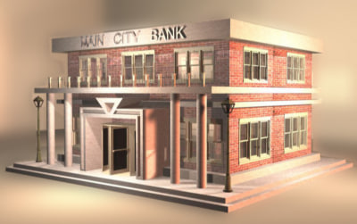 3d model bank building city zipped