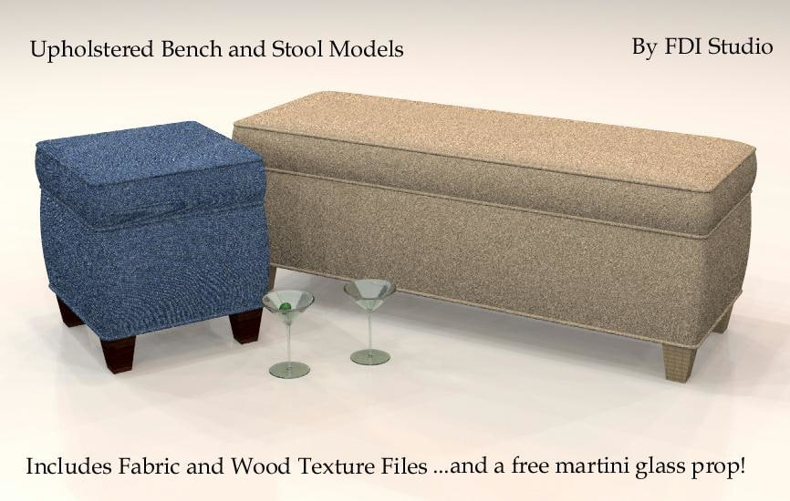 upholstered bench stool martini 3ds