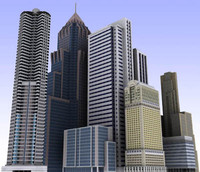 max modern city buildings low-poly