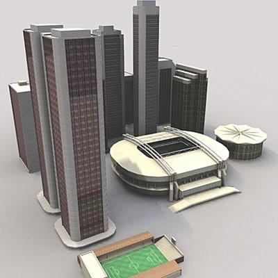 city elements skyscrapers arena 3d model