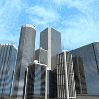 3d building house skyscraper city street model
