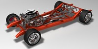 hot rod chassis car 3d model