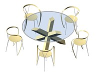 3d model glass table chairs